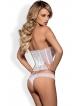 bielizna damska biała gorset koronkowy z fiszbinami modelującymi sylwetkę ozdobne morelowe dodatki i stringi do kompletu