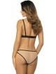 figi damskie beżowe z elastycznego tiulu ozdobione czarnym eleganckim haftem gorteks model mila