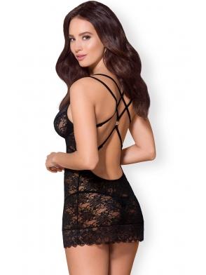 koszulka damska koronkowa motyw w różyczki czarna z odkrytymi plecami zdobionymi seksi paseczkami