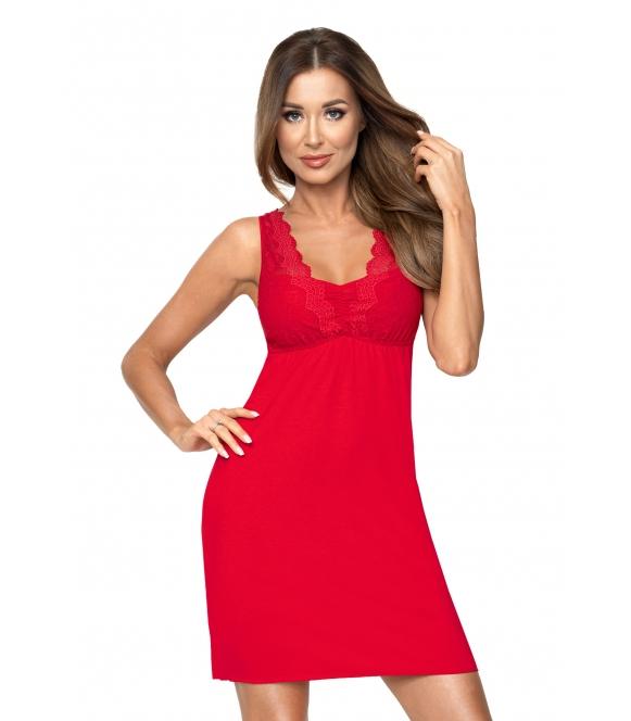 śliczna czerwona koszulka nocna z wiskozy i koronki czerwona na ramiączkach donna laura