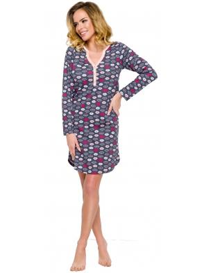 koszula damska nocna zapinana na guziczki z modnym motywem ust w różnych kolorach przed kolano