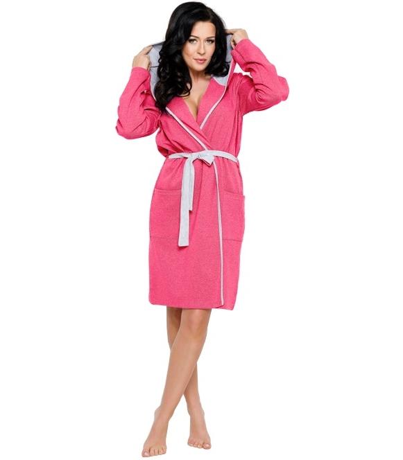 szlafrok damski bawełniany z kapturek kontrastujące kolory wiązany w pasie z kieszonkami
