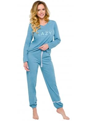 piżama damska bawełniana długi rękaw dekolt v modny nadruk na piersiach spodnie wiązane ze ściągaczem