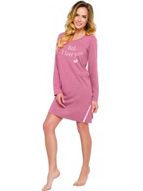 koszula damska nocna z długim rękawem dekolt w kształcie litery v modny napis z przodu długość przed kolano