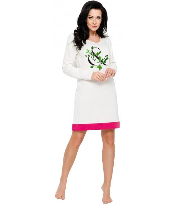koszula damska nocna z nadrukiem roślinnym bawełniana długi rękaw przed kolanko