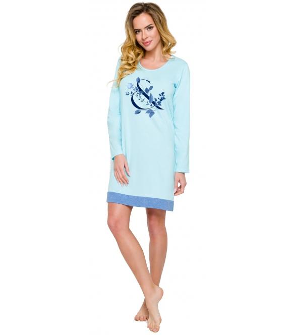 błękitno granatowa koszula nocna damska z nadrukiem o motywie roślinnym długie rękawy długość do kolan