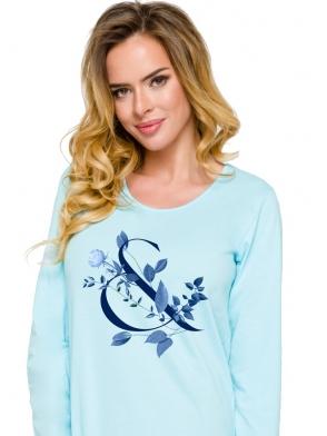Koszula damska nocna błękit z granatem modny nadruk długi rękawek długość przed kolanko
