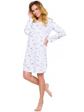 koszula damska nocna do spania z nadrukiem w koliberki rozpinana na guziczki długi rękaw przed kolano