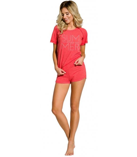 piżama damska do spania krótkie spodenki koszulka krótki rękaw z nadrukiem summer