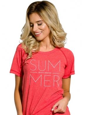 czerwona piżamka damska z nadrukiem koszulka z krótkim rękawem spodenki krótkie taro