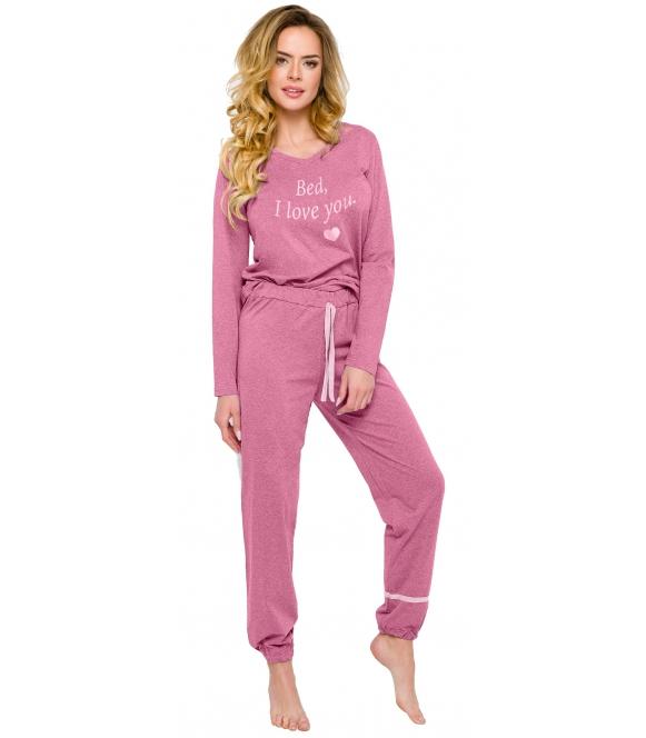 bawełniana piżama damska z długim rękawem nadruk w okolicy piersi spodnie długie ze ściągaczem