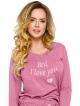 piżama damska z bawełny długie spodnie ze ściągaczem i wiązaniem góra długi rękaw z modnym kolorowym nadrukiem