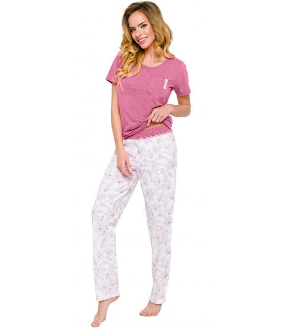 piżama damska krótki rękaw z kieszonką spodnie długie z nadrukiem roślinnym listki kontrastujące kolory