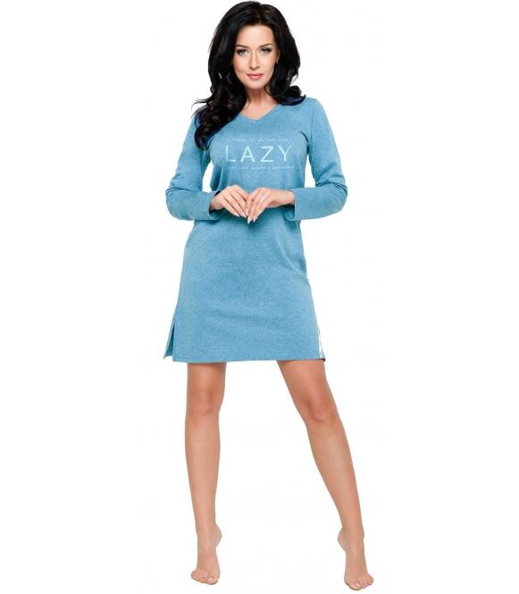 kolor morski koszula nocna damska z długim rękawem i modnym nadrukiem na piersiach długość przed kolano