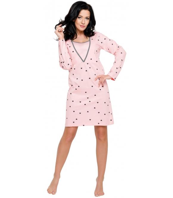 różowa w serduszka koszula damska do karmienia niemowląt długi rękaw długość do kolan