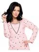 różowa koszula damska nocna do karmienia z długim rękawem nadruk serduszek długość przed kolana taro linda