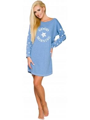 niebieska koszula damska z nadrukiem good morning na piersi długość przed kolano długi rękaw