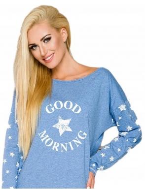 koszula damska do spania nocna z modnym nadrukiem przed kolana długi rękaw niebieska taro nadia 2111