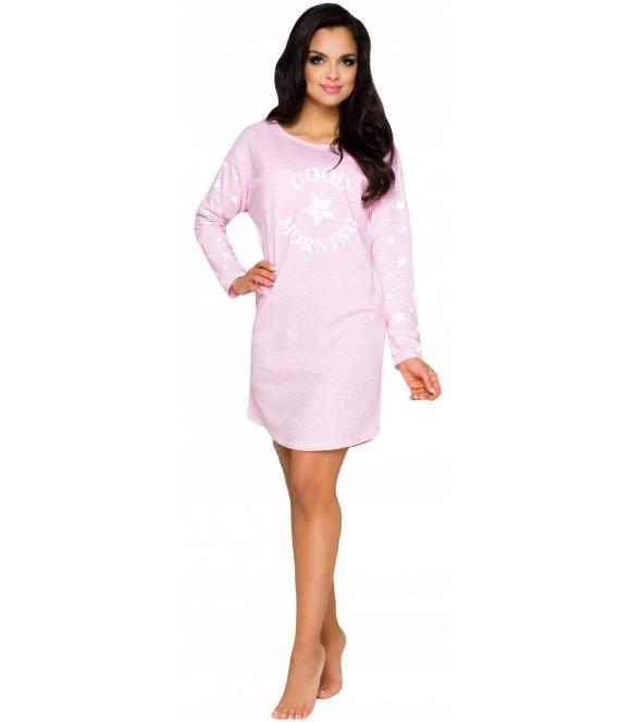 różowa koszulka do spania koszula nocna z nadrukiem good morning długość przed kolanko długi rękaw