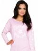 koszula nocna do spania różowa z nadrukiem na piersi i rękawach długość przed kolano długi rękaw
