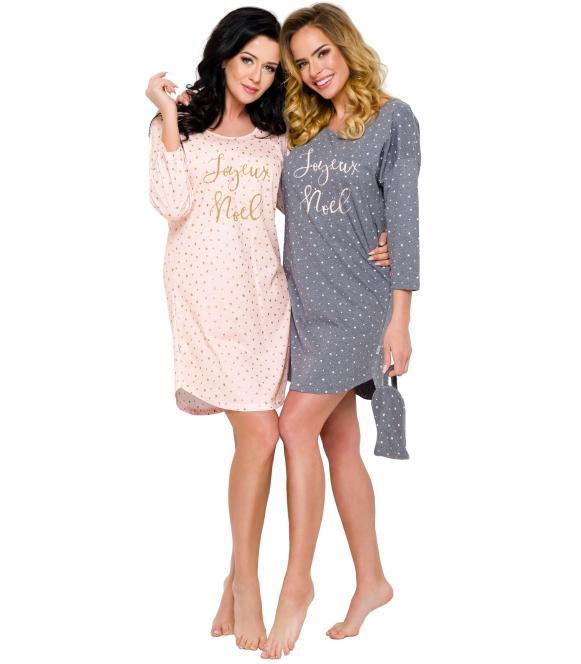 koszula nocna z bawełny nadruk gwiazdki i modny napis długość przed kolano rękaw trzy czwarte