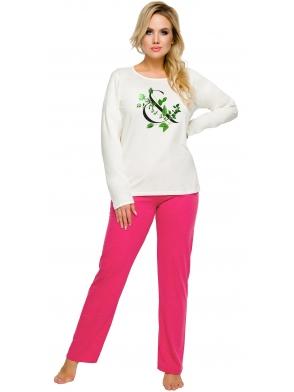 piżama damska góra ecru z nadrukiem motyw kwiatowy dół różowy długie spodnie do kostek taro