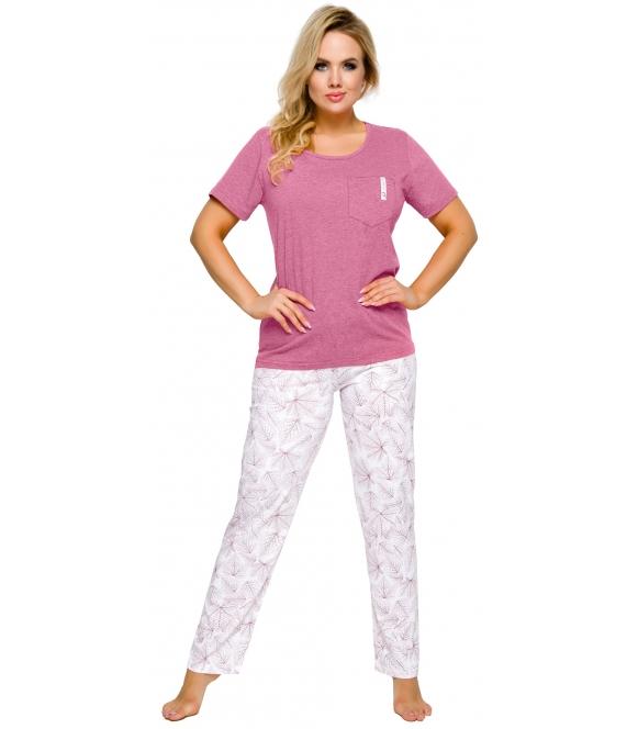 dwuczęściowa bawełniana piżama damska z kieszonką krótki rękaw spodnie długie bez ściągacza z nadrukiem o motywie kwiatowym