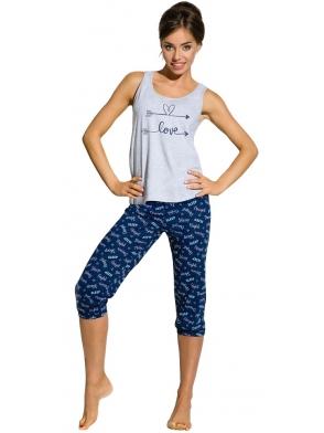 piżama damska na ramiączkach z nadrukiem love spodnie trzy czwarte za kolana również z sympatycznymi kolorami szary z czarnym