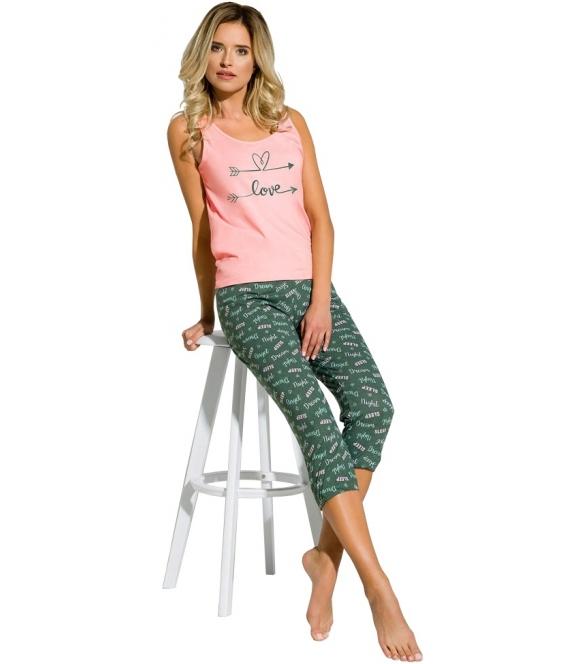 różowo zielona piżama damska bawełniana nadruk love na piersiach koszulka na ramiączkach spodnie za kolanko taro tiffany 2165