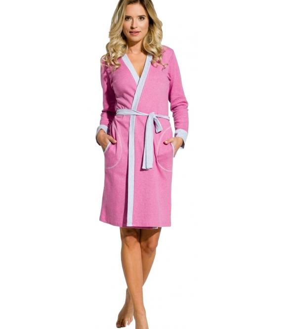 różowy szlafrok damski z szarymi akcentami wiązany w pasie długość przed kolana długi rękaw firma taro