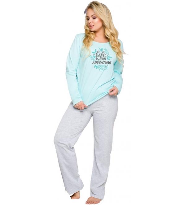 piżama damska duże rozmiary bawełniana z kolorowym nadrukiem długie szare spodnie góra z długim rękawem