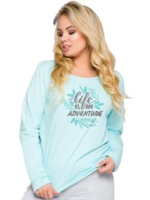 piżama damska size plus bawełniana z długim rękawem nadruk na piersiach szare długie spodnie taro sylwia 259