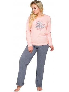 różowo szara piżama damska z nadrukiem długie spodnie góra z półokrągłym dekoltem i długimi rękawami