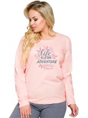 piżama damska bawełniana w odcieniach różu i szarości góra długi rękaw z modnym nadrukiem spodnie długie szare taro sylwia 259