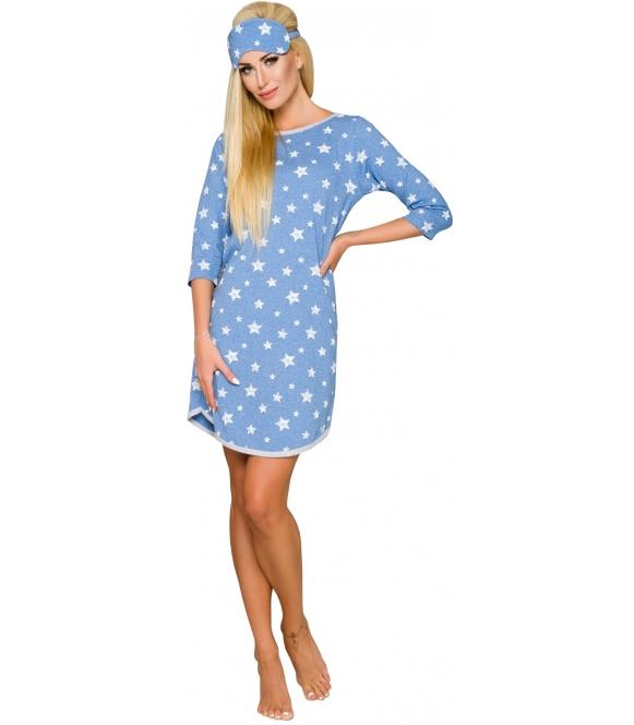 niebieska koszula nocna w białe gwiazdki damska rękaw trzy czwarte długość przed kolana