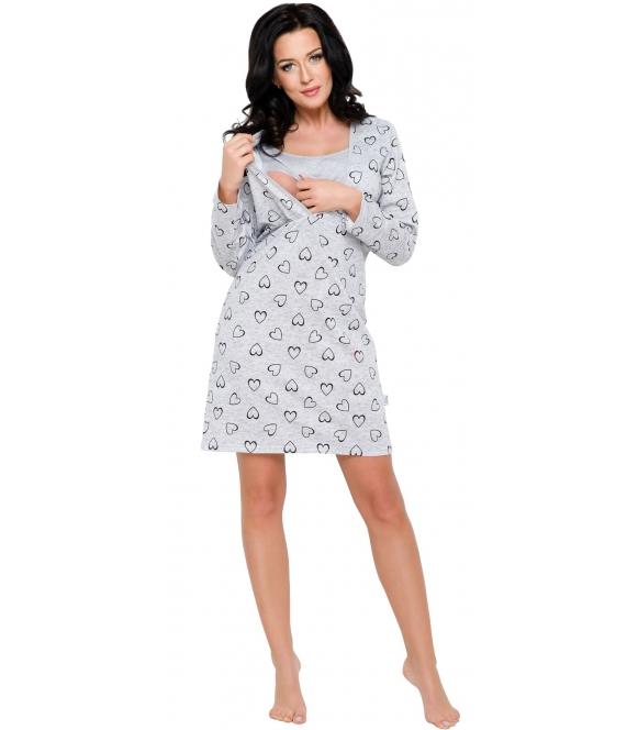szara koszula nocna do karmienia z nadrukiem w serduszka ułatwia karmienie niemowląt dzięki specjalnym rozcięciom na piersiach