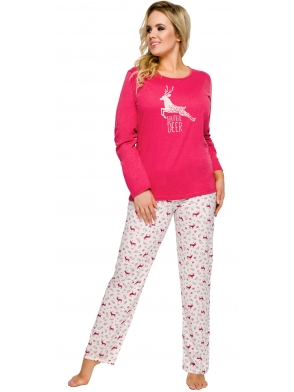 piżama damska bawełniana nadruk renifera czerwono szara spodnie długie szare góra czerwona długi rękaw taro ala 2241