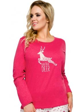 piżama damska bawełniana taro ala 2241 czerwono szare kolory nadruk z reniferami spodnie długie góra z długim rękawem