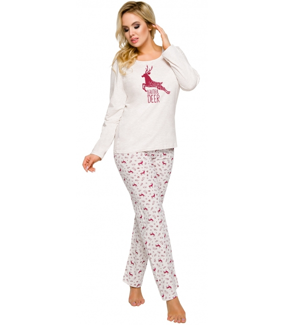 piżama damska bawełniana motyw reniferów odcienie szarości długie spodnie góra dekolt półokrągły z długim rękawem taro ala 2241