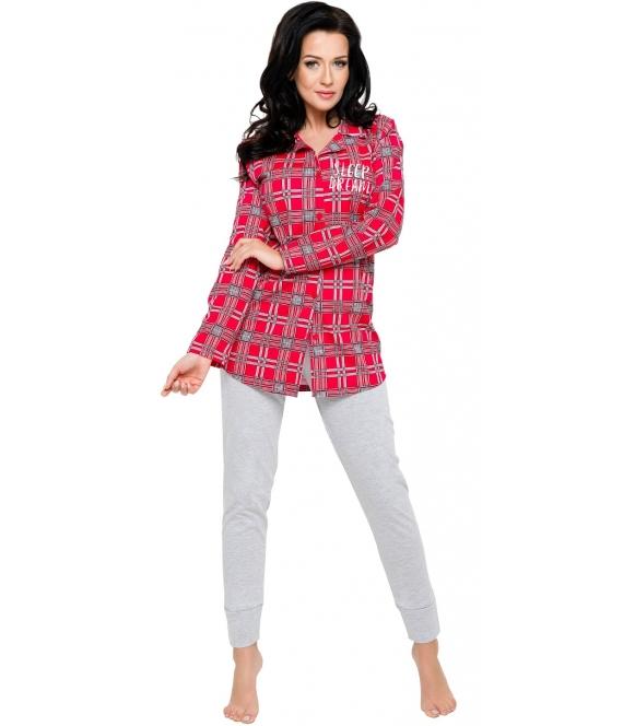 piżamka piżama damska wzór szkocka krata czerwienie z szarościami kołnierzyk długi rękaw spodnie szare długie taro dalia 2239