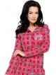 modna piżama damska w szkocką kratę czerwoną z odcieniami szarości góra długi rękaw z nadrukiem dół szary długie spodnie taro
