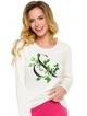piżama damska bawełna motyw kwiatowy na bluzie góra ecru długi rękaw spodnie różowe długie taro sylwia 286