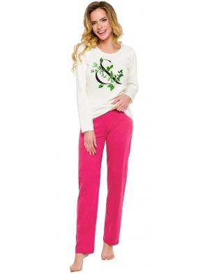 piżama damska w kontrastujących ze sobą kolorach bawełniana góra ecru z nadrukiem kwiatowym spodnie różowe długie taro