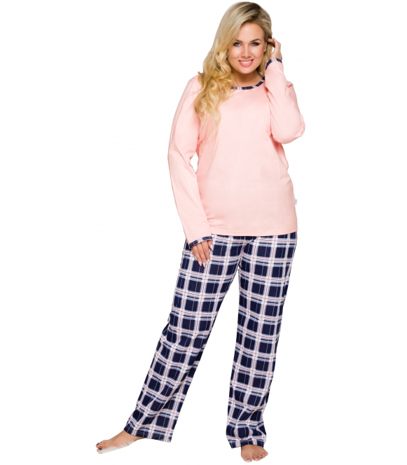 piżama damska ze spodniami w kratę bawełniana góra różowa z długim rękawem spodnie długie w modną kratę