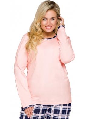 piżama damska bawełniana modna krata i różowa góra spodnie długie góra jednokolorowa długi rękaw