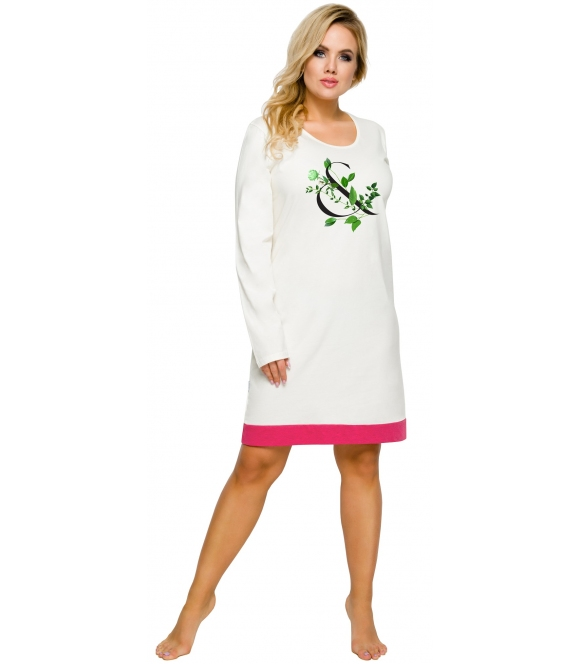 koszula nocna ecru z różowym motyw kwiatowy na piersiach długi rękaw długość przed kolano taro viva 2015