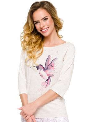 piżama damska bawełniana z nadrukiem kolibra na bluzie szara rękaw trzy czwarte spodnie przed kostki w motyw roślinny taro
