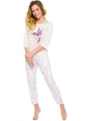 piżama damska przed kostkę rękaw trzy czwarte bluza z nadrukiem kolibra taro agnieszka 2234