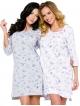 koszula damska nocna z nadrukiem małych koliberków krótka z rękawem za łokieć bawełniana taro