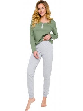 rozpinana na guziczki piżama damska bawełniana taro agnes 2233 bluza długi rękaw spodnie szare długie